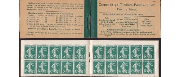France - n° 137 - Carnet-C7 - 5c Semeuse - 1919.