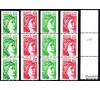 France - n°2062/2063 + 2157/2158 - Sabine - 4 valeurs différentes en roulette: numéro rouge au verso.