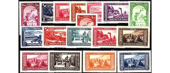 Monaco - n° 119/134 - 1933 - Paysages de la Principauté.