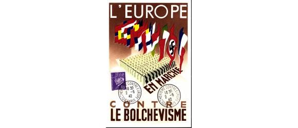 France - Europe en lutte contre le bolchévisme - Carte illustrée de 1942 . Rare en cette qualité.