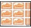 Réunion - n°136Aa - 55c brun-rouge - Bloc de 6 non dentelé bord de feuille.