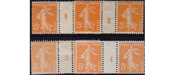 France - n° 158 - 5c Semeuse millésimes 1 à 4.