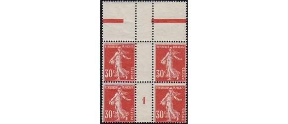 France - n° 160 - 30c rouge semeuse - millésime 1 en bloc de 4.