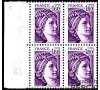 France - n°2060a - Sabine de Gandon - 1F60 violet sans phosphore en bloc de 4.