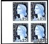 France - n°1263 - Marianne de Decaris - Essai ciel et marine - Essai bloc de 4.