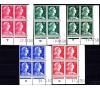 France - n°1011 /1011c - Marianne de Muller - 5 valeurs et coins datés différents.