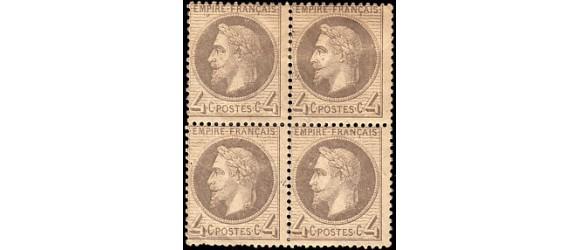France - n°  27 - 4c Napoléon Lauré en bloc de 4.