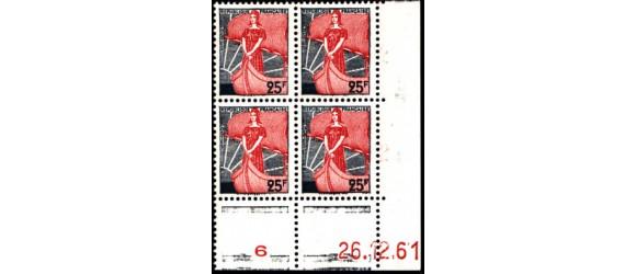 France - n°1216 - Marianne à la nef - Coin daté 1961.
