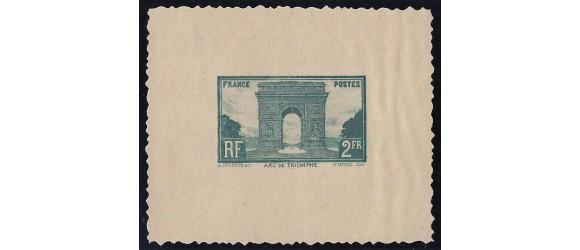 France - n° 258A - Arc de Triomphe - Epreuve Non émise en vert bleu.