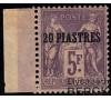 Levant - n°  8 - Mouchon - 20p/5f violet - Bord de feuille.