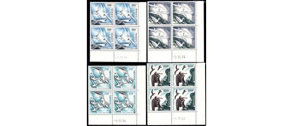 Monaco - n° PA  55/58 - Oiseaux de mer - les 4 blocs de 4 coins datés**. Peu courant