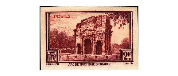 France - n° 389 - Arc de triomphe d'Orange - Non-Dentelé - Essai de couleurs.
