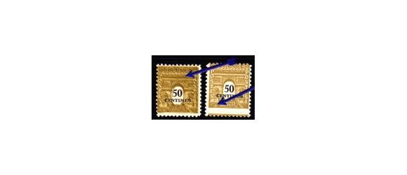France - n° 704** - 50c Arc de Triomphe - Paris - 2 VARIETES - Piquage décalé + Double impression - émission de 1945.