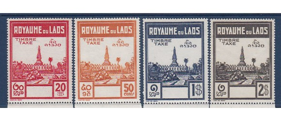 Laos - Taxe - Série complète NON EMISE des Pagodes  - 4 valeurs.
