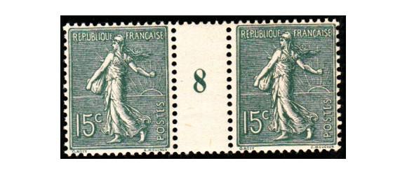 France - n° 130 IV - 15c Semeuse - Papier blanc - Millésime 8.
