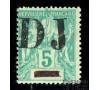 Cote des Somalis - n°  1 - 5c vert - Obock surchargé.
