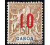 Gabon - n°  74A - Type Sage - 10c sur 50c bistre - Chiffres espacés