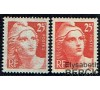 France - n° 729 - 25f rouge gravé Marianne de Gandon - Impression très défectueuse.