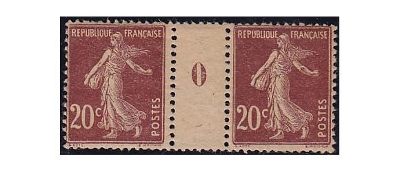 France - n° 139 - 20c lilas-brun GC  - Semeuse Camée - Millésime 0