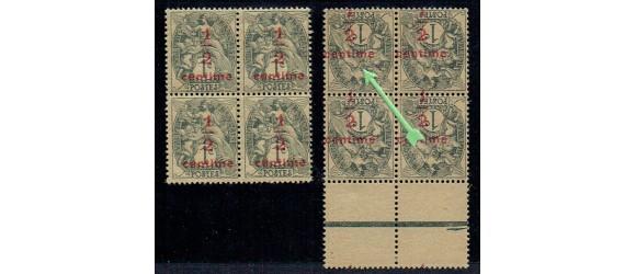 """France - n° 157c - """" Surcharge renversée """"- Type Blanc 1/2c sur 1c."""