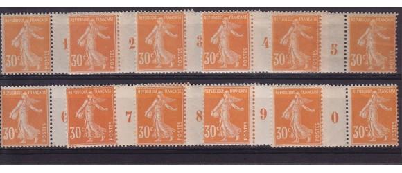 France - n° 141 - 30c orange Semeuse - 10 millésimes différénts